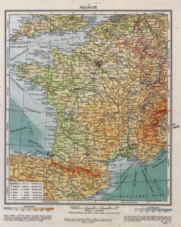 Přesuny J. Jandy pro Francii - mapa