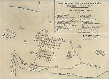 Mapa ústředního archivu v Římě – tábor Perdu, Asinara, internace rakousko-uherských válečných zajatců 1916